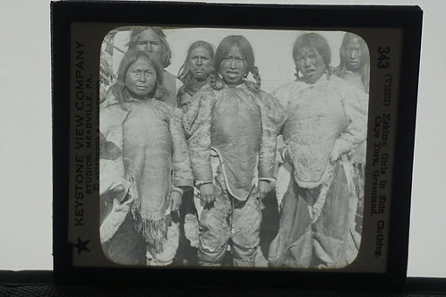 Slide Of Eskimo Girls In Skin Clothing By Keystone View Co