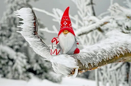 gnome in a snowy forest