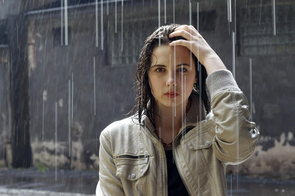 adult rain woman beautiful brown hair fashion