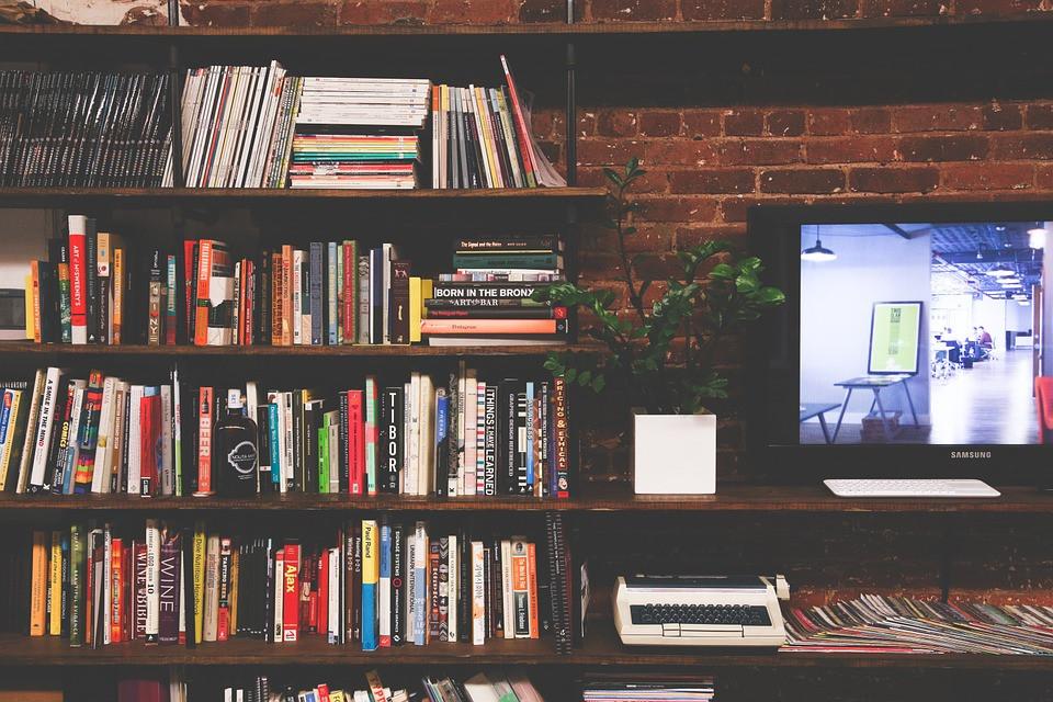 library book tv mulitmedia room modern interior