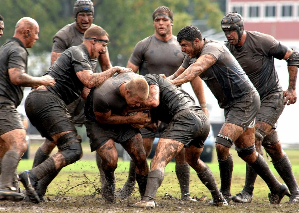 rugby players playing rugby