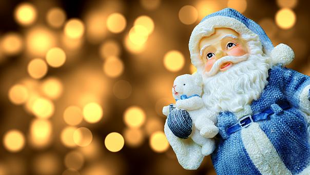 Santa Claus in blue