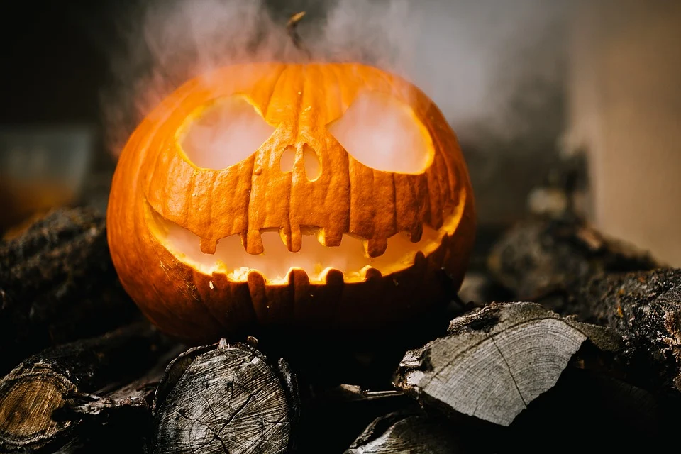 pumpkin with steam coming out of eyes