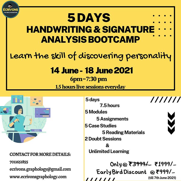 5 Days Handwriting & Signature analysis Bootcamp