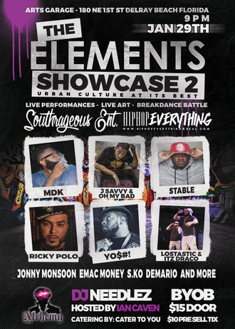 Catch a glance of what to expect at #TheElementsShowcase2 held at the @ArtsGarageFL January 29th Be