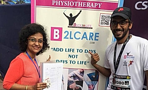 B2lcare physiotherapy team at kolkata martahone recovery camp