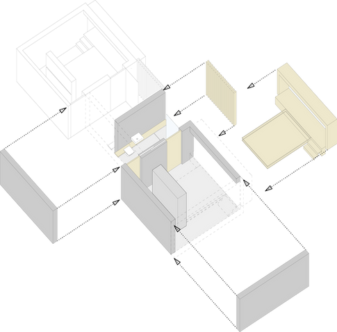 Axonometric diagram of the Sleeping Cell