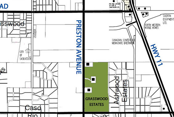 Map showing the location of Graswood Estates south of Saskatoon. Graswood estate is a housing development locted within th hamlet of Grasswood Estates.