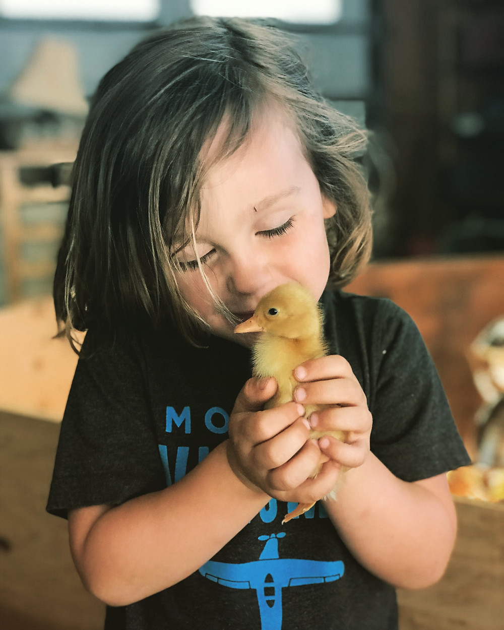 Young boy holding a duckling