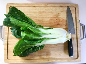 A head of pak choy with a knife ready to be cut on a cutting board