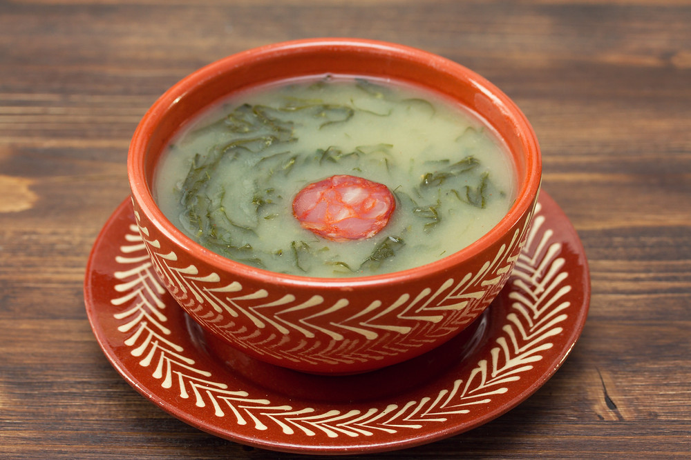 Caldo Verde soup with linguiça