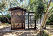 Rustic Lodge with 10'x10' Run and Storage Shed