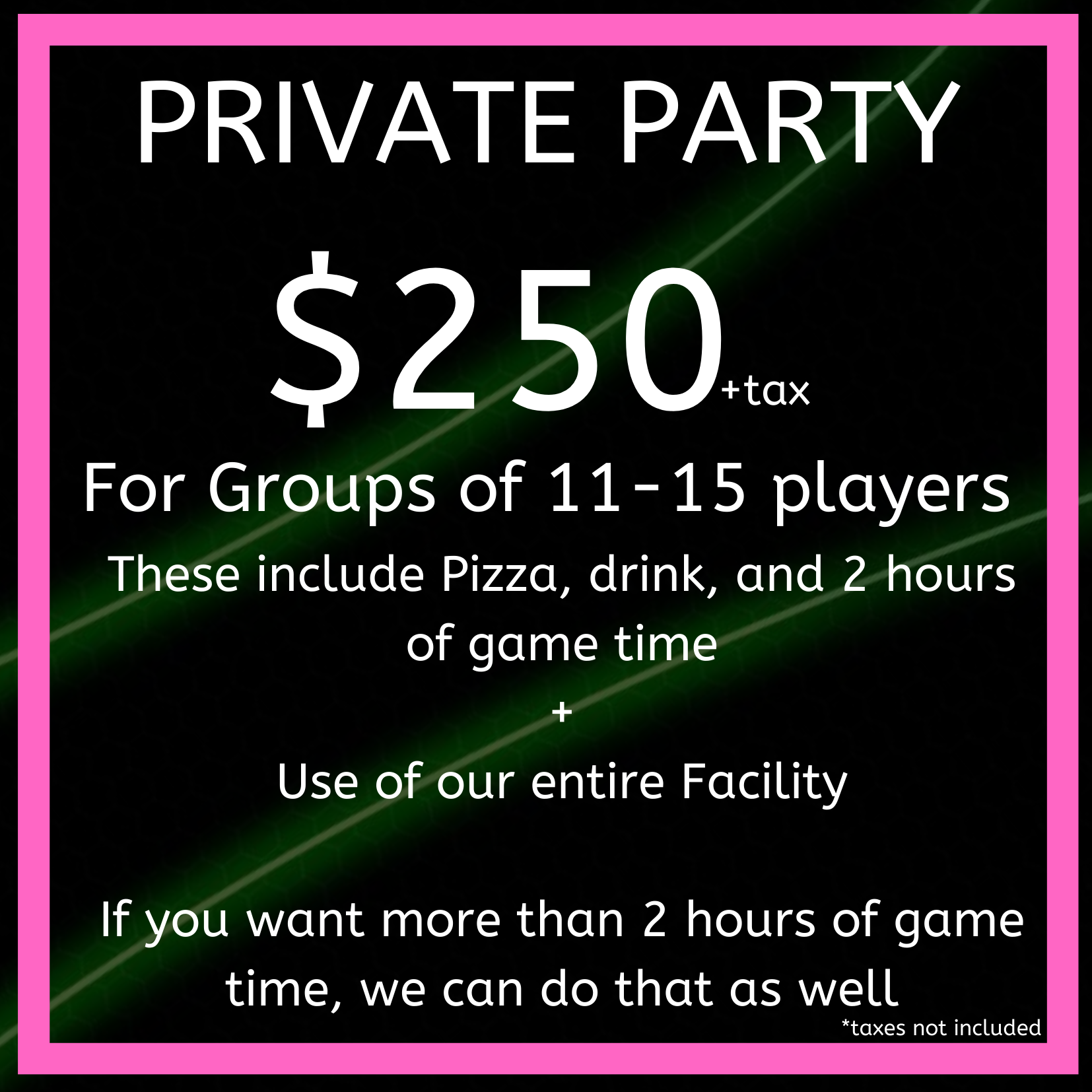 Private Party Rate #1