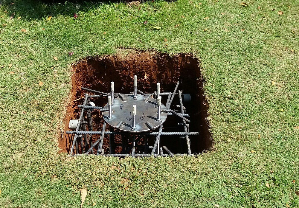footings excavation with steel insert and column base plate fitted