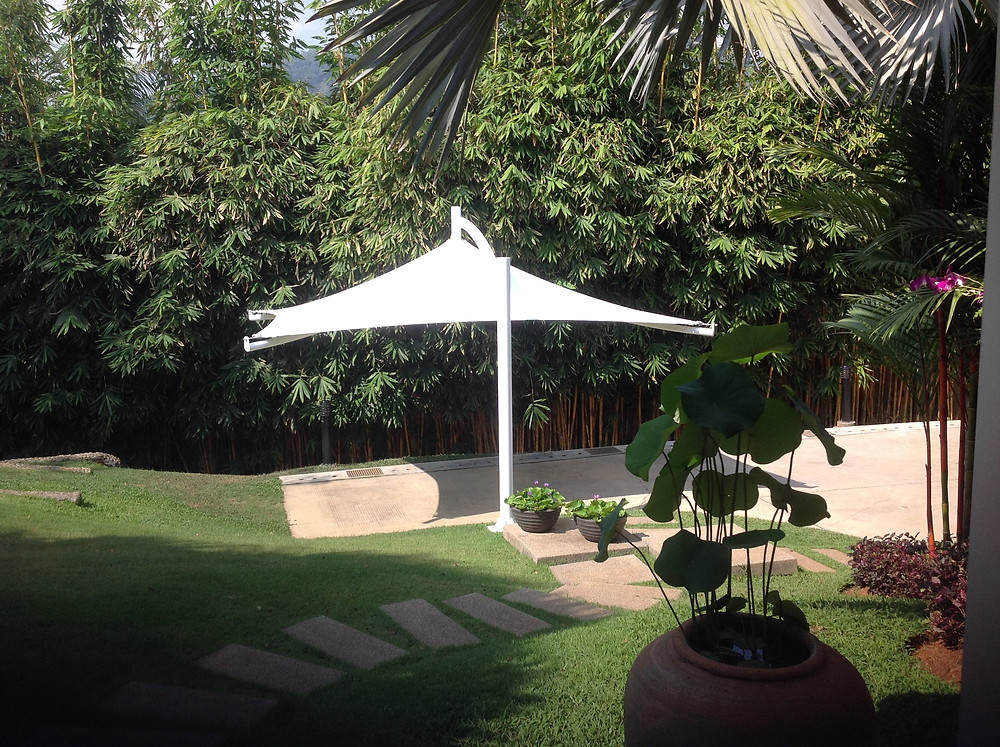 steel reinforced concrete footing with shade structure installed