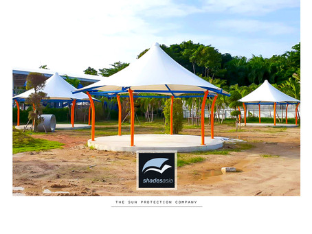 Custom or standard design shade and rain protection structures for schools.
