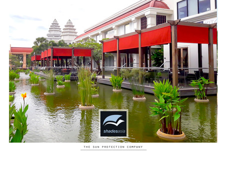 Retractable fabric roofing solution at DFS Galleria, Siem Reap. Ask us for a custom solution!