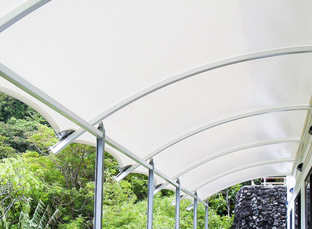 Cover your patio with a beautiful and lightweight fabric structure!