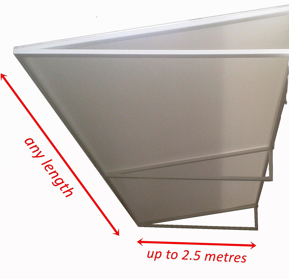 Fixed tensioned fabric awnings