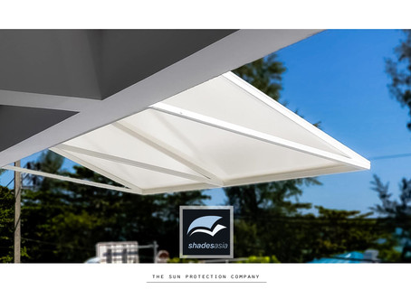 "Our US-award-winning standard design ""Antibes"" fixed awning"