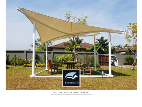 Kit-form free-standing shade structures for gardens, patios, restaurants & resorts.