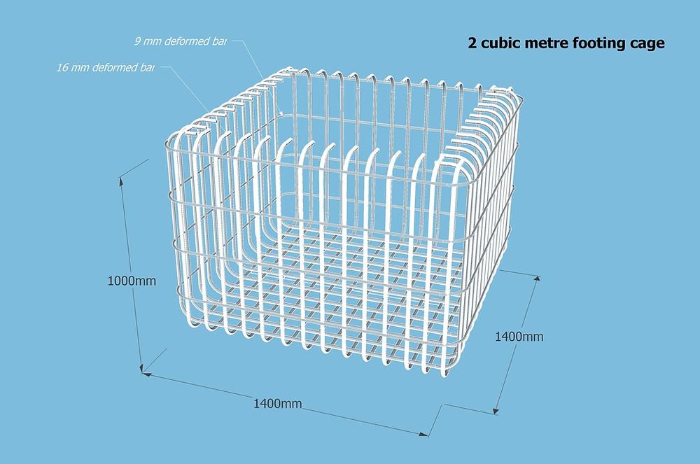 Design for 2 cubic metre column footings
