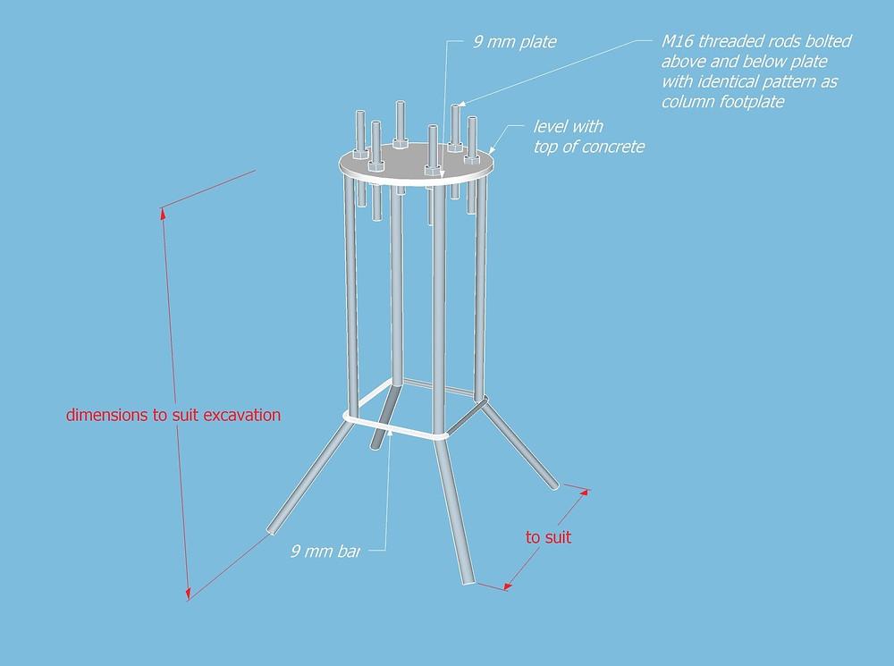 footings insert design for shade sail column