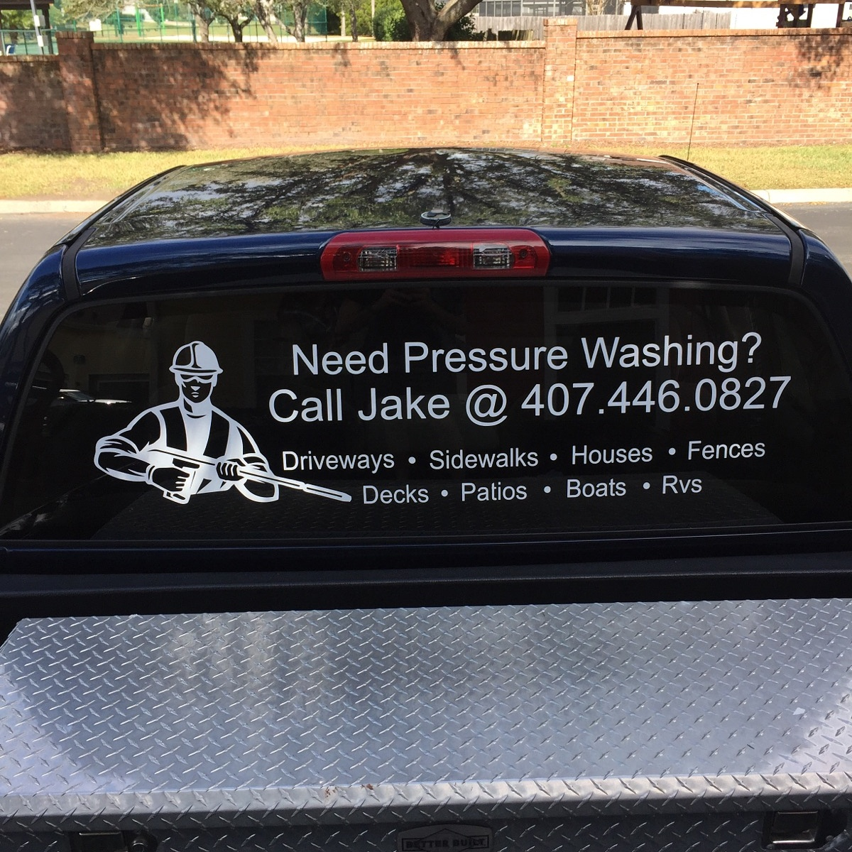 Rear window business decal