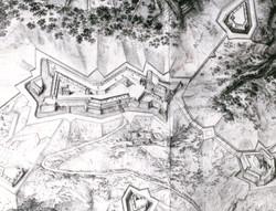 Vogelschau der Festung Freiburg