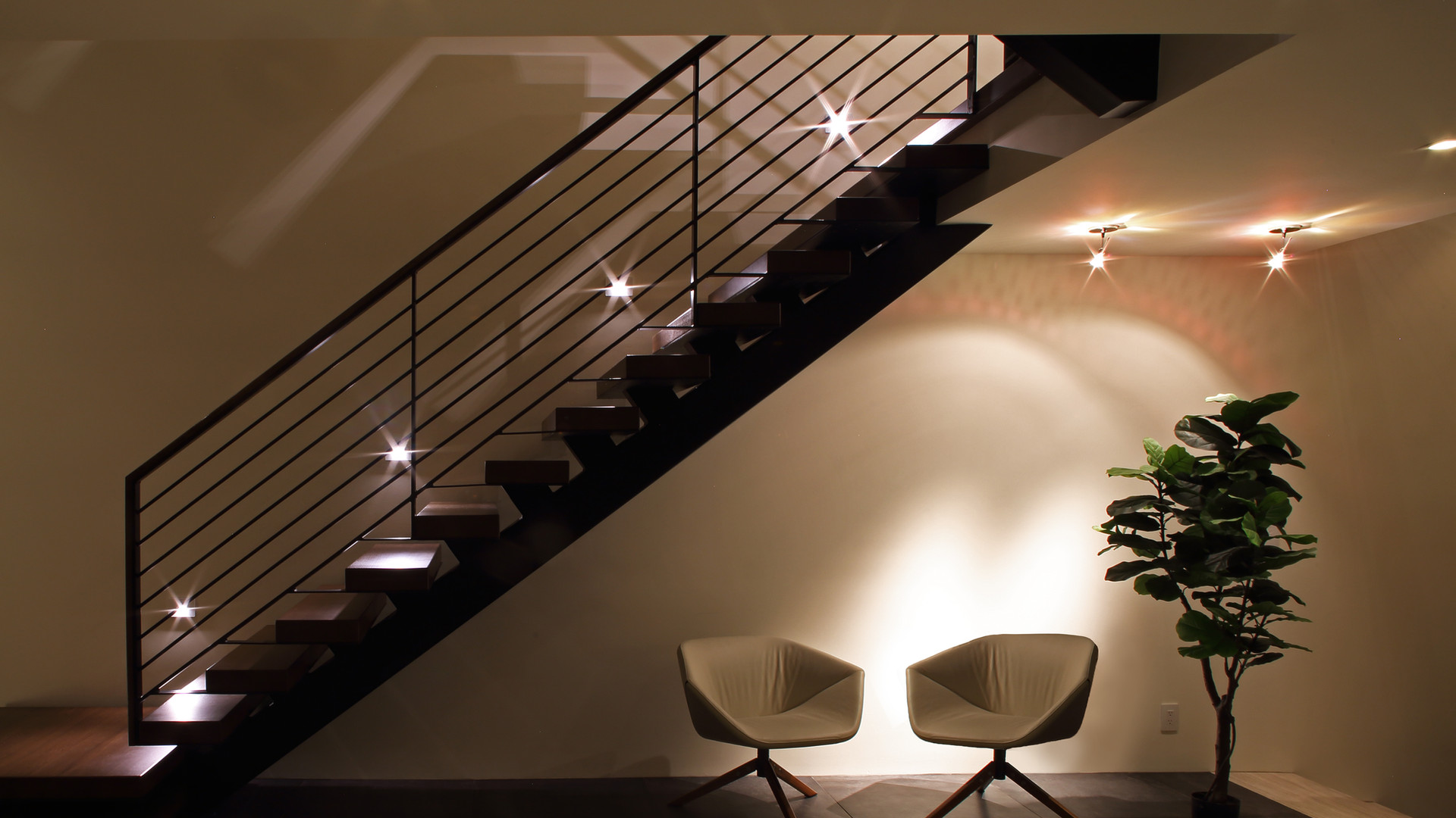 Lake Minnetonka Custom Open Staircase and LED Lighting
