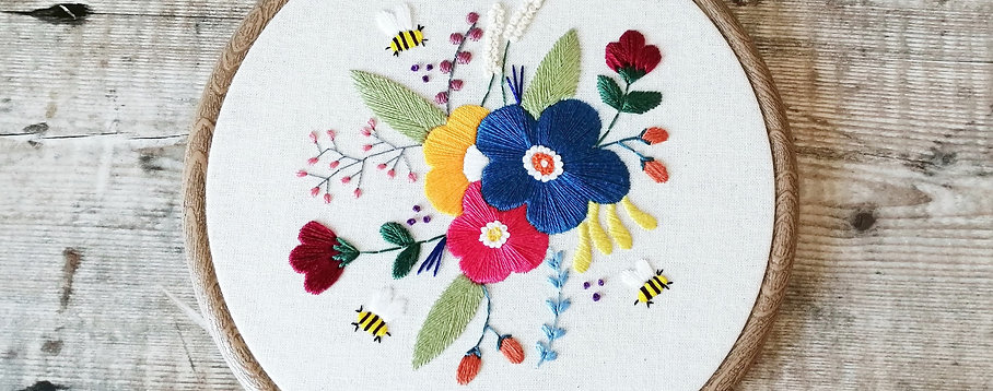 Floral Bees Hoop