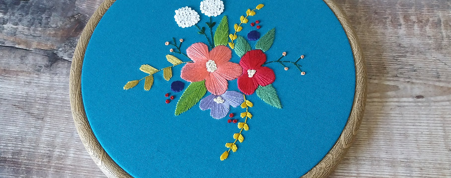 Teal Florals Embroidery Art