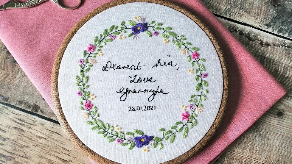 Handwriting Floral Wreath