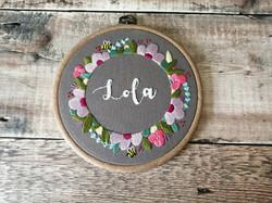 Floral Wreath Name Hoop - Lola 1