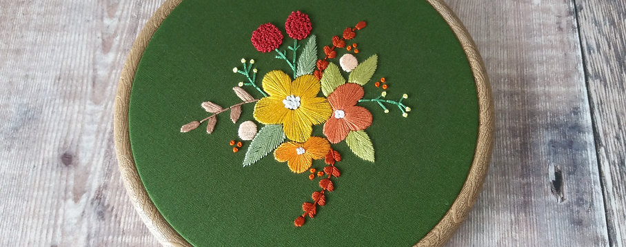 Forest Green Florals Embroidery Art