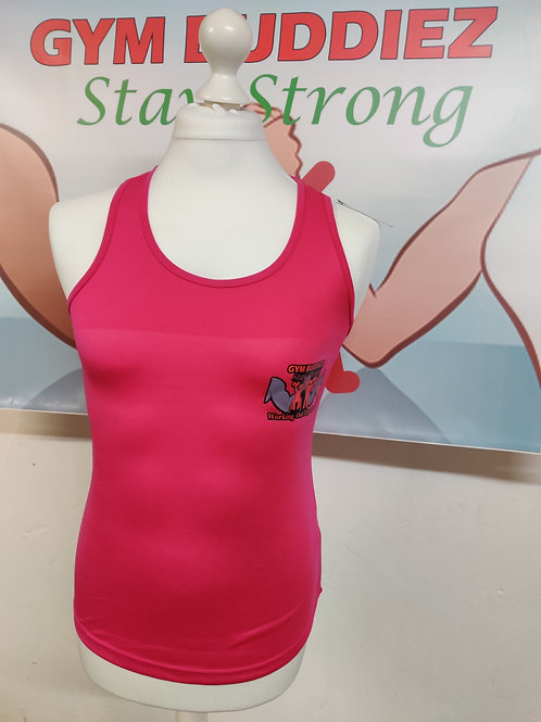 The Gym Buddiez Pink Muscle Fit Vest