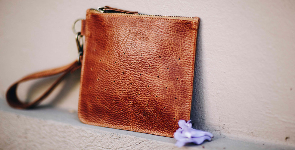 Perforated Clutch - Hammered Leather