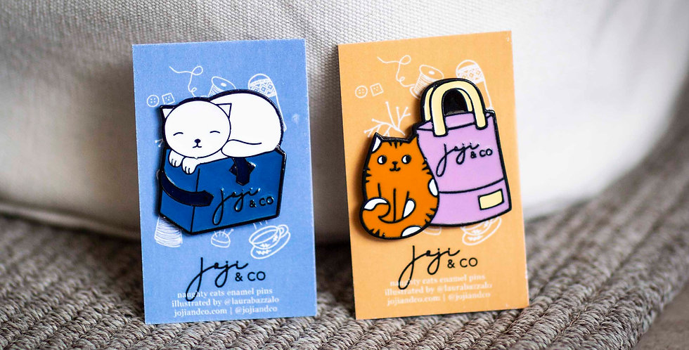 Kitties and Project Bags enamel pins