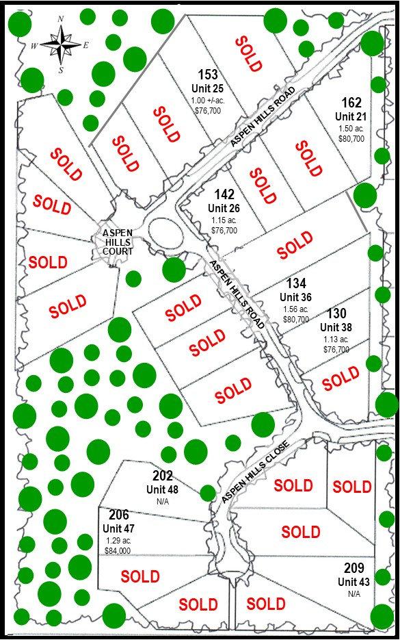 Aspen Hills Lot Inventory Map June 14, 2
