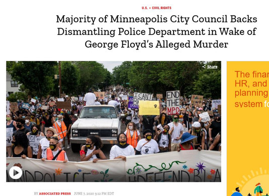 Majority of Minneapolis City Council Backs Dismantling Police Department in Wake of George Floyd's Alleged Murder