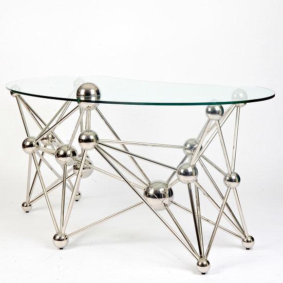 Contemporary Chrome and Glass Desk