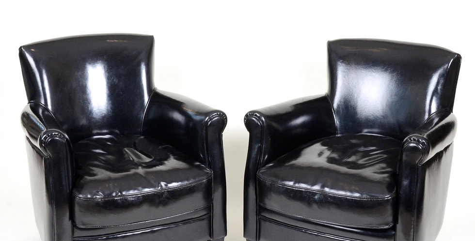 Pair of Black Leather Club Chairs