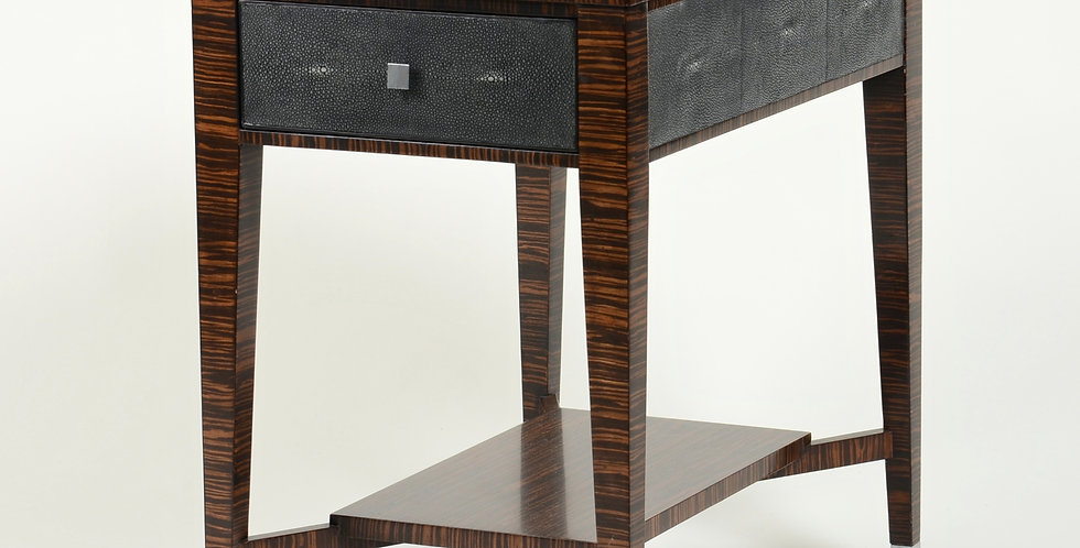 Shagreen and Wood Side Table