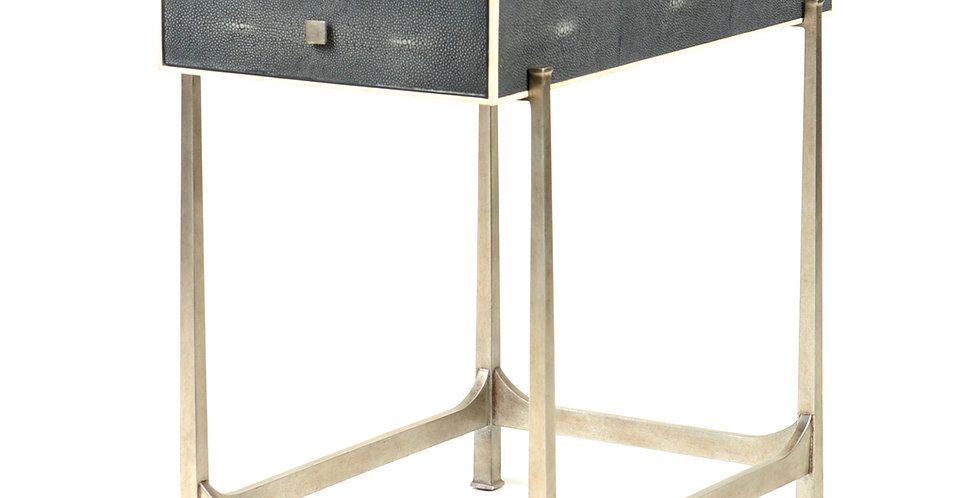 Shagreen and Metal Side Table