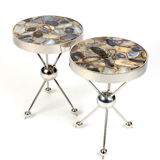 Contemporary Chrome and Marble Side Tables