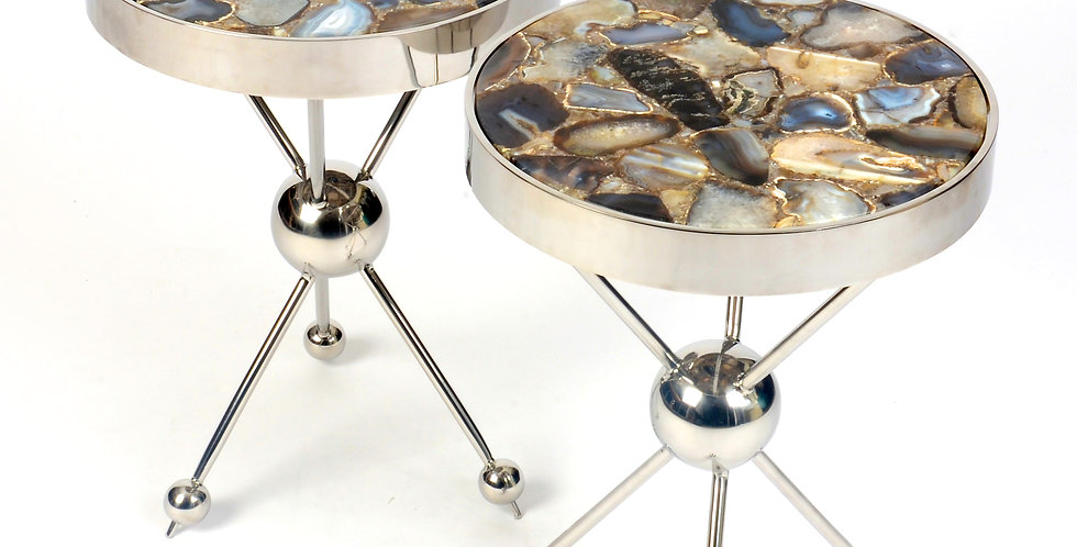 Contemporary Chrome and Marble Side Table
