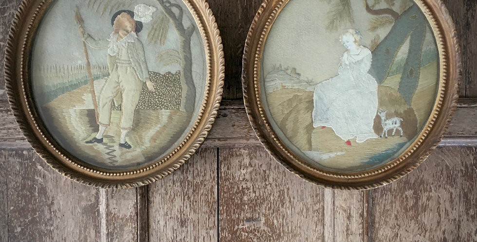 Pair of Antique Tapestry Pictures