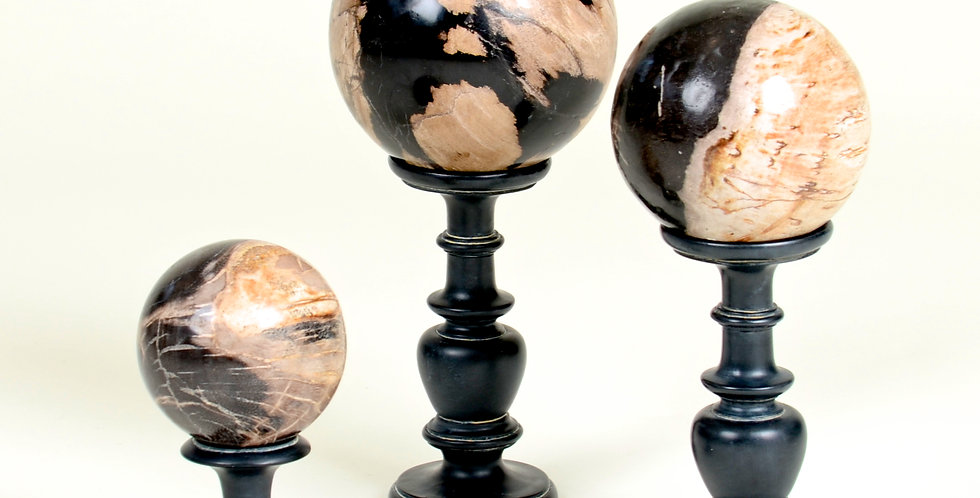 Set of 3 Petrified Wood Balls on Stands