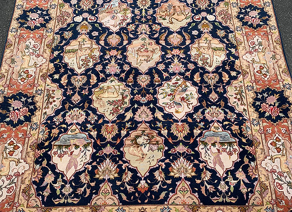 Tabriz Pictorial Rug Wool & Silk on Cotton