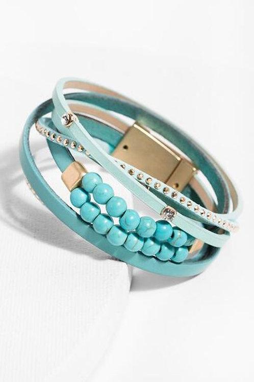 Belmont Wrap Bracelet By SAACHI- Turquoise